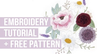 FLORAL EMBROIDERY PATTERN TUTORIAL - start to finish easy beginner embroidery   INFO IN DESCRIPTION