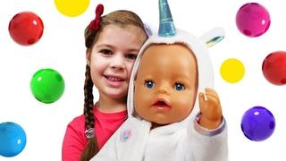 Kids play baby dolls & Feeding baby doll - Baby Annabell doll & Family fun video