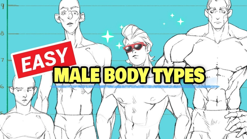 🧍 HOW TO DRAW ANY MALE BODY TYPE 3 STEPS