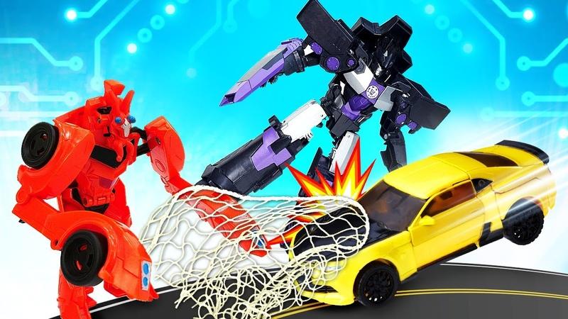 Роботы Трансформеры игры битвы Автобот Бамблби в ловушке Десептиконов Видео для мальчиков