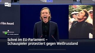 Polnischer Schauspieler schreit im EU-Parlament aus Solidarität mit weißrussischer Opposition
