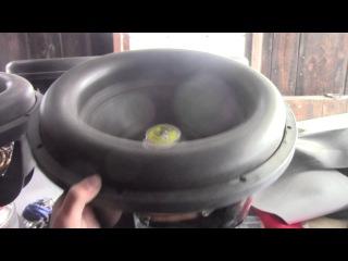 """Sundown Audio Zv4 15"""" bottom's out suspension! 100hz-1hz sweep free-air"""