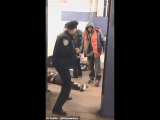 Shocking moment! Cop fends off belligerent homeless men in a New York City subway!