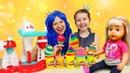 Видео с куклами - Беби Бон и Принцессы готовят Мороженое Плей До! - Новые игры для девочек.