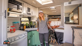 Solo Female In Renovated RV Truck Camper - Toilet & Shower In Her Micro Tiny House