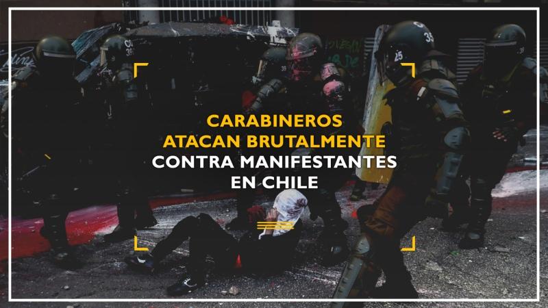 Carabineros reprimen brutalmente a manifestantes en Chile