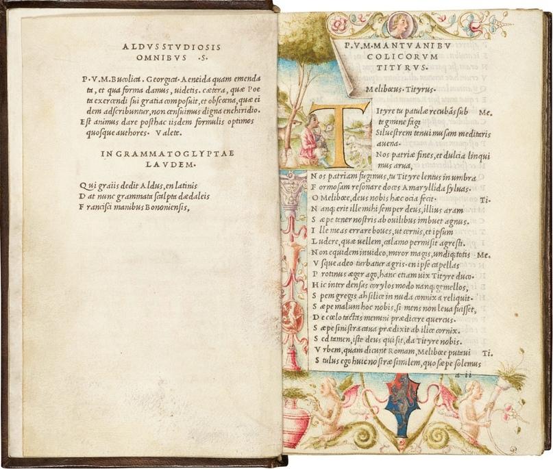 «Энеида» Вергилия - вероятно, первая книга, напечатанная курсивом в типографии Мануция в 1501 году